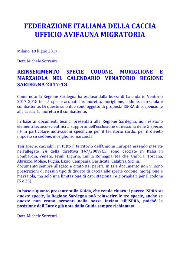 Calendario Venatorio Sardegna.Reinserimento Specie Codone Moriglione E Marzaiola Nel